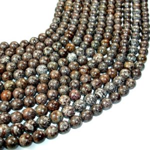 Shop Snowflake Obsidian Beads! Brown Snowflake Obsidian Beads, Round, 10 mm, 15.5 Inch, Full strand, Approx 39 beads, Hole 1 mm, A quality (193054002) | Natural genuine beads Snowflake Obsidian beads for beading and jewelry making.  #jewelry #beads #beadedjewelry #diyjewelry #jewelrymaking #beadstore #beading #affiliate