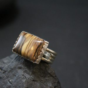 Sterling Silver Picture Jasper Modern Geometric Ring