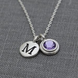 Birthstone Initial Necklace, December Birthday Gift, Personalized Initial Necklace, Tanzanite Silver Initial Necklace