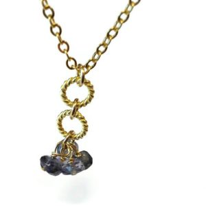 Tanzanite Necklace – Purple Gemstone Jewelry – Cluster – Gold Chain Jewellery – Dangle – Violet – Fashion – Unique N-342