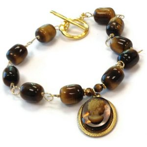 Brown Cameo Bracelet Tigers Eye Jewellery Yellow Gold Jewelry Gemstone Charm Tortoise Shell Profile Silhouette Shadow Tbm