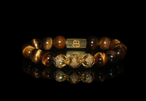 Men's Bracelet, Bead Bracelets Men, Tigers Eye And Gold Vermeil Beads Bracelets For Men, Bracelet For Man, Tiger's Eye Bracelet