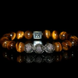 Men's Bracelet, Bracelet For Men, Tiger's Eye And Sterling Silver Bracelet, Beaded Bracelet, Man's Bracelet, Bracelet For Man, For Men