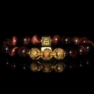 Men's Bracelet, Redtiger's Eye And Gold Bracelet, Bead Bracelets Men, Man's Bracelet, For Men, Bracelet, Men's Tiger's Eye Bracelet