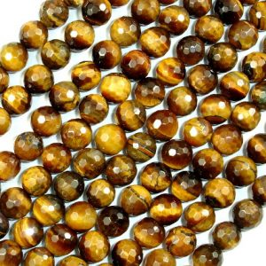 Tiger Eye Beads, Faceted Round, 8mm, 15.5 Inch, Full Strand, Approx 48 Beads, Hole 1 Mm (426025003)