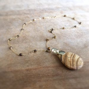 Brown Necklace – Tigers Eye Gemstone Jewellery – Pendant Jewelry – Gold Chain