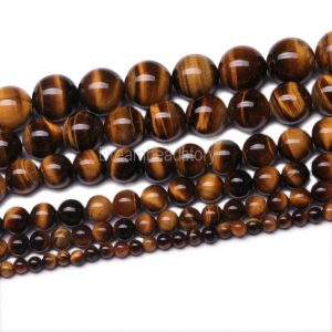 Natural Yellow Tigers Eye Gemstone 4 6 8 10 12 14mm Round Beads for Jewelry (B85) | Natural genuine round Gemstone beads for beading and jewelry making.  #jewelry #beads #beadedjewelry #diyjewelry #jewelrymaking #beadstore #beading #affiliate #ad