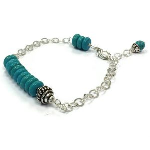 Turquoise Bracelet – Turquoise Jewelry – Bead Bar Sterling Silver Jewelry Chain Jewellery 925 Asymmetric Stack Layer Gemstone B-216