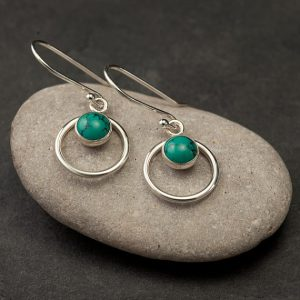Turquoise Earrings- Silver Turquoise Earrings- Turquoise Dangle Earrings- Sterling Silver Earrings With Turquoise- December Birthstone