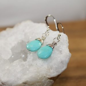 Sleeping Beauty Turquoise Earrings, Wire Wrapped, Sterling Silver Or Gold Filled, December Birthstone