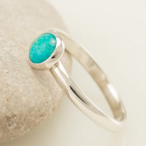 Turquoise Ring- Blue Stone Ring- Sterling Silver Ring- Gemstone Ring- Modern Sterling Silver Jewelry Handmade- Sizes 4 – 10