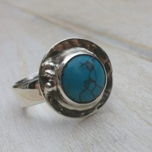 Turquoise Ring – Sterling Silver Ring – Jewellery Handmade – Turquoise Jewellery – Gemstone Jewellery – Us Size 8 – Uk Size P.