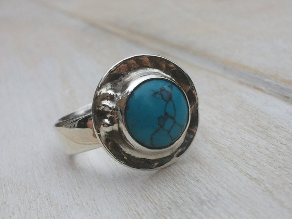 Turquoise Ring - Sterling Silver Ring - Jewellery Handmade - Turquoise Jewellery - Gemstone Jewellery - Us Size 8 - Uk Size P.