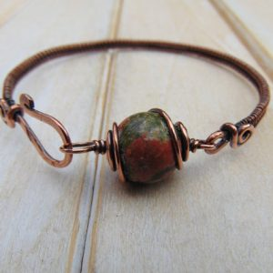 Unakite Bangle  – Wire Wrapped Jewellery Handmade – Copper Bracelet – Unakite Jewellery