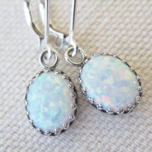 Opal Earrings, Sterling Silver Opal Earrings, White Opal Earrings, Lab Created Opals, Opal Jewelry, October Birthstone, Matching Jewelry Set | Natural genuine Opal earrings. Buy crystal jewelry, handmade handcrafted artisan jewelry for women.  Unique handmade gift ideas. #jewelry #beadedearrings #beadedjewelry #gift #shopping #handmadejewelry #fashion #style #product #earrings #affiliate #ad