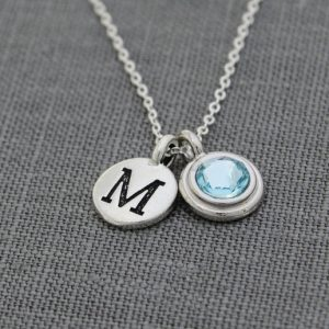 Personalized Grandma Necklace, Mothers Initial Jewelry, December Birthstone Necklace,  New Mom Grandmother Necklace With Initial Blue Zircon