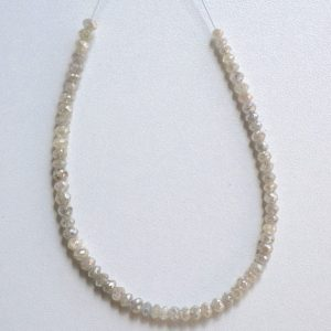 40% Off 10 Pieces Rare White Diamond Faceted Rondelles, Diamond Neckles, 3mm Approx.