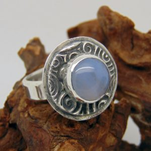Shop Agate Rings! Sterling Silver Blue Lace Agate Ring –  Agate Jewellery – Hallmarked Silver – Bezel Set – Blue Gemstone – US Size 6 1/4 – UK Size M | Natural genuine gemstone jewelry in modern, chic, boho, elegant styles. Buy crystal handmade handcrafted artisan art jewelry & accessories. #jewelry #beaded #beadedjewelry #product #gifts #shopping #style #fashion #product