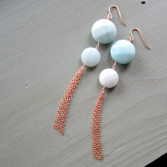 Blue Earrings Yellow Gold Jewelry Amazonite Natural Gemstone Jewellery Unique Handcrafted Chain Dangle Pierced Earrings Er-78