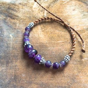 Amethyst Bracelet, Adjustable Macrame Bracelet With Amethyst, Purple Stone Bracelet, Shine, Boho Bracelet, Waterproof, Macrame Jewelry, Gift
