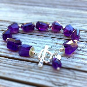 Amethyst Bracelet – Purple Nugget Gemstone Jewellery – February Birthstone – Sterling Silver Jewelry – Beaded – Fashion – Chunky