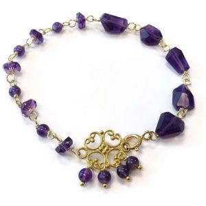 Shop Amethyst Bracelets! Amethyst Bracelet – Purple Jewelry – February Birthstone Jewellery – Asymmetric – Yellow Gold – Nugget – Gemstone – Filigree Connector 259 | Natural genuine Amethyst bracelets. Buy crystal jewelry, handmade handcrafted artisan jewelry for women.  Unique handmade gift ideas. #jewelry #beadedbracelets #beadedjewelry #gift #shopping #handmadejewelry #fashion #style #product #bracelets #affiliate #ad