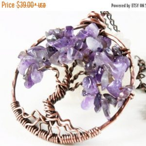 Amethyst Tree Of Life Necklace, Copper Wire Wrap, Rich Purple Gemstone, Talisman Necklace, Holiday Gift For Her, February Birthstone