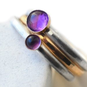 Amethyst Stacking Ring Set Of 3, Women's Mixed Metal 14k Gold Filled & Sterling Silver Jewelry, Natural Purple Gemstones