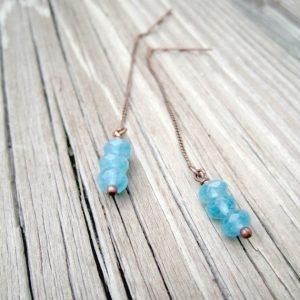 Shop Dainty Jewelry! Blue Apatite Earrings – Blue Jewelry – Copper Jewelry – Threader Chain Women's Jewellery – Gemstone Unique Dangle Dainty Er-56 | Natural genuine Gemstone jewelry. Buy crystal jewelry, handmade handcrafted artisan jewelry for women.  Unique handmade gift ideas. #jewelry #beadedjewelry #beadedjewelry #gift #shopping #handmadejewelry #fashion #style #product #jewelry #affiliate #ad