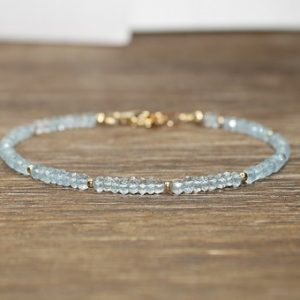 Aquamarine Bracelet, Aquamarine Jewelry, Something Blue, March Birthstone, Sterling Silver, Gold Filled Or Rose Gold Beads