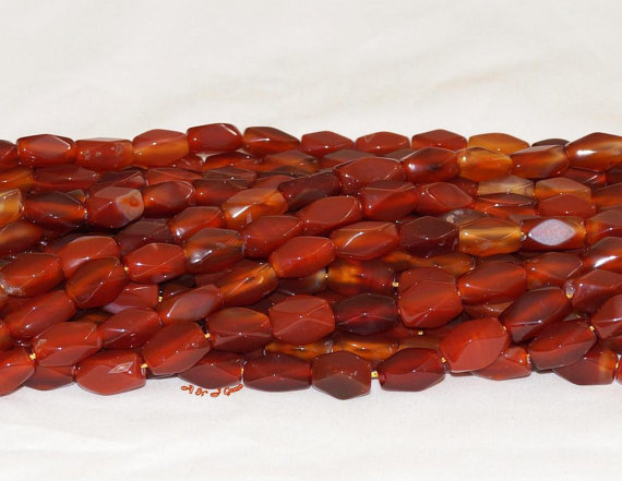 "Carnelian 9x16mm Rectangle Faceted Gemstone Bead - 15.5"" Strand"
