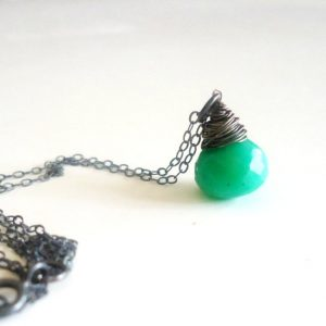 Shop Chrysoprase Necklaces! Green Chrysoprase Necklace – Pendant – Sterling Silver Oxidized Jewelry Chain – Teardrop – Minimalist – Dainty – Simple Jewellery | Natural genuine Chrysoprase necklaces. Buy crystal jewelry, handmade handcrafted artisan jewelry for women.  Unique handmade gift ideas. #jewelry #beadednecklaces #beadedjewelry #gift #shopping #handmadejewelry #fashion #style #product #necklaces #affiliate #ad