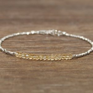 Citrine Bracelet, Hill Tribe Beads, Citrine Jewelry, Pure Silver, November Birthstone, Gemstone Bracelet