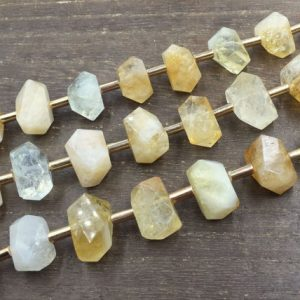 Shop Gemstone Chip & Nugget Beads! Citrine Quartz Nuggets Facted Citrine beads Yellow Quartz Crystal Beads Center Drilled Chunky Beads Supplies 8pieces/strand | Natural genuine chip Gemstone beads for beading and jewelry making.  #jewelry #beads #beadedjewelry #diyjewelry #jewelrymaking #beadstore #beading #affiliate #ad