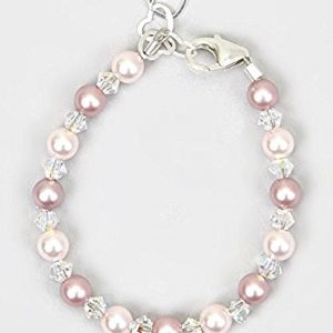 Crystal Dream Elegant Swarovski Pink and Rose Simulated Pearls White Crystals Baby Girl Gift Bracelet (BPLR_M+), 2-5 YEARS ( 5.5″)
