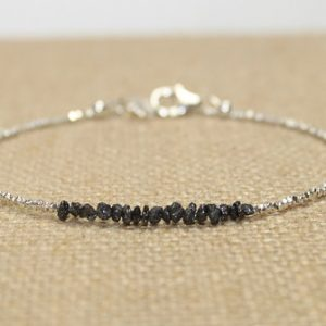 Black Rough Diamond Bracelet, Hill Tribe Silver Beads, Rough Diamond Jewelry, Black, April Birthstone