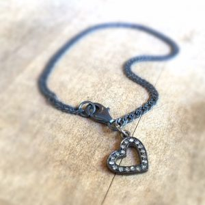 Diamond Charm Bracelet – Heart Charm Jewelry – Oxidized Sterling Silver Jewellery – Pave Diamond