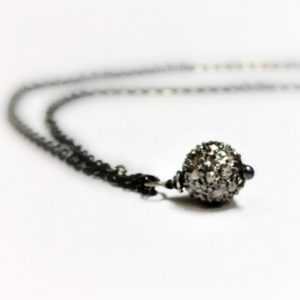 Pave Diamond Necklace – Oxidized Sterling Silver Jewellery – Chain Jewelry – Unique Pendant Drop Gift Ideas For Her April Birthstone N-155