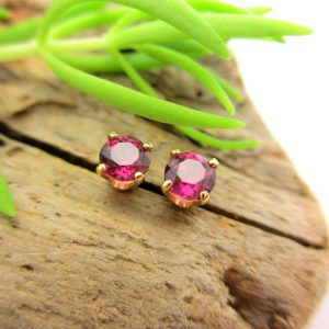 Shop Garnet Earrings! Pink Garnet Screw Back Studs, Platinum or 14k Gold Screw Back Earrings with Rhodolite Garnet, White Gold or Yellow Gold Screwbacks – 4mm | Natural genuine Garnet earrings. Buy crystal jewelry, handmade handcrafted artisan jewelry for women.  Unique handmade gift ideas. #jewelry #beadedearrings #beadedjewelry #gift #shopping #handmadejewelry #fashion #style #product #earrings #affiliate #ad
