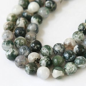 Green And White Tree Agate Beads, 10mm Round – 15 Inch Strand – Egr-ta002-10