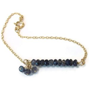 Shop Iolite Jewelry! Iolite Bracelet Gold Jewelry Bead Bar Chain Gemstone Jewellery Dangle Blue Purple Iridescent Handmade Fashion Layer Stack B-268 | Natural genuine Iolite jewelry. Buy crystal jewelry, handmade handcrafted artisan jewelry for women.  Unique handmade gift ideas. #jewelry #beadedjewelry #beadedjewelry #gift #shopping #handmadejewelry #fashion #style #product #jewelry #affiliate #ad