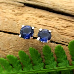 Iolite Screw Back Studs, Platinum Or 14k Gold Screw Back Earrings With Iolite, White Gold Or Yellow Gold Screwbacks