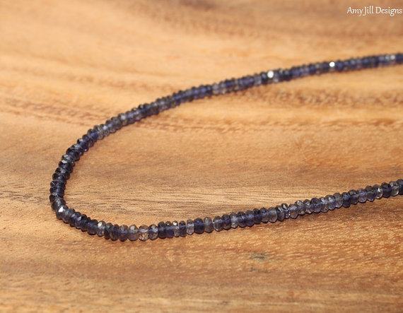 Iolite Necklace, Iolite Jewelry Sterling Silver, Shaded, Beads, Gemstone Jewelry