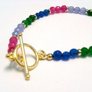 Jade Bracelet – Gemstone Jewelry – Multicolor Rainbow Jewellery – Gold Beaded – Pink – Green – Blue – Lavender