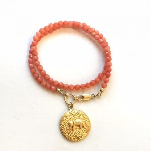 Peach Bracelet – Jade Gemstone Jewellery – Elephant Charm – Wrap – Gold Jewelry