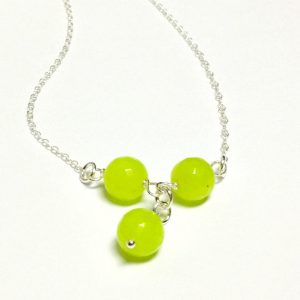 Lime Green Necklace – Jade Jewellery – Sterling Silver Chain – Gemstone Jewelry – Gift – Unique – Handcrafted – Neon – Fluorescent – Pendant