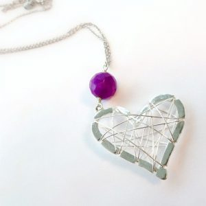 Sterling Silver Heart Necklace – Heart Jewelry – Wire Heart – Purple Jade Gemstone Jewelry – Love – Valentine – Gift  N-208