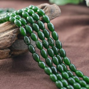 Dark Green Jade Rice Beads Supplies, Full Strand 8*12mm Oval Beads For Jewelry Making (jy77)