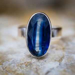 Kyanite Ring Size 8 – Kyanite & Sterling Silver Ring – Kyanite Jewelry – Kyanite Ring Size 8 – Blue Kyanite – Kyanite Jewelry Blue Gemstone