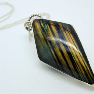 Sterling Silver Labradorite Pendant  – Silver Necklace – Hallmarked Silver – Labradorite Necklace – Bezel Set Pendant – Kite Necklace